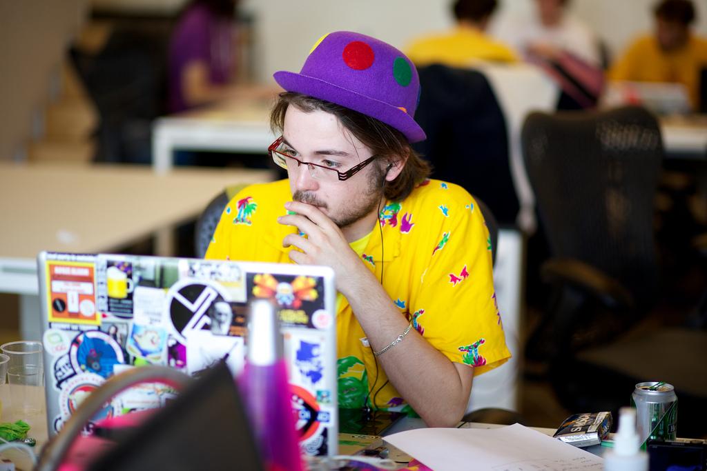 Guy looking at a computer screen