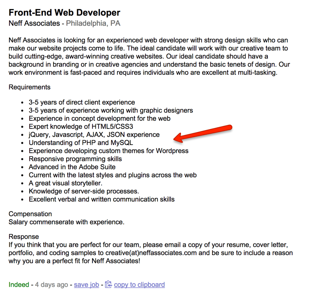 front end web dev listing