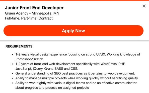 front-end developer job listing 2