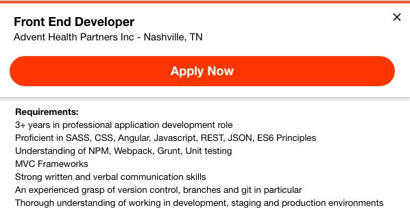 front-end developer job listing 4