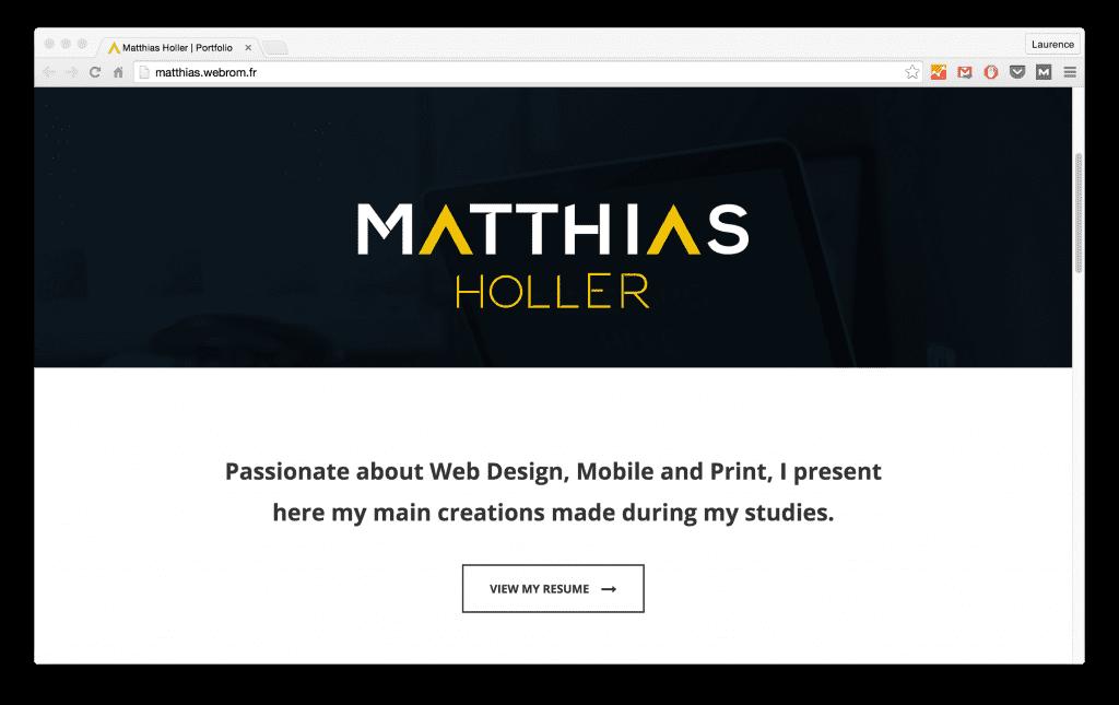 Matthias Holler's portfolio website
