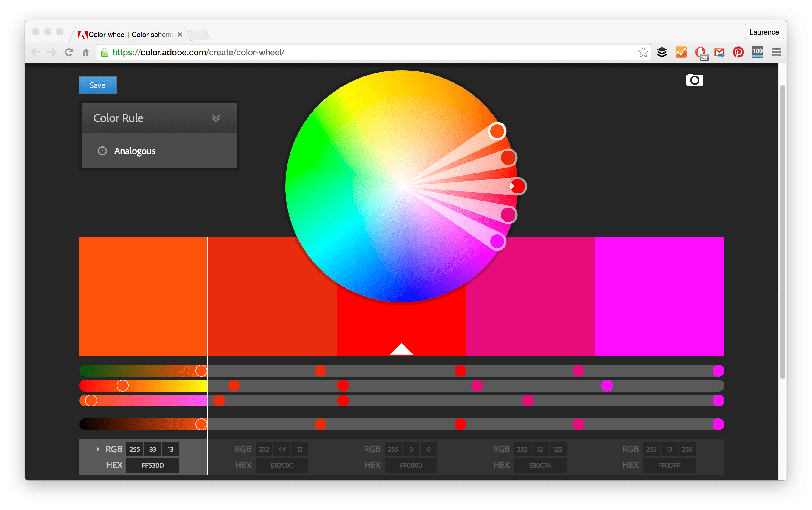 Game color theory - Adobe Color Wheel