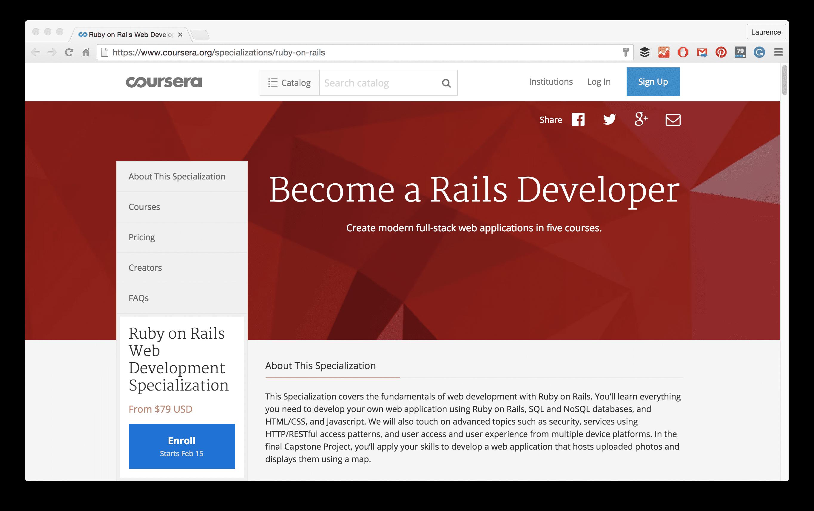 ruby on rails specialization