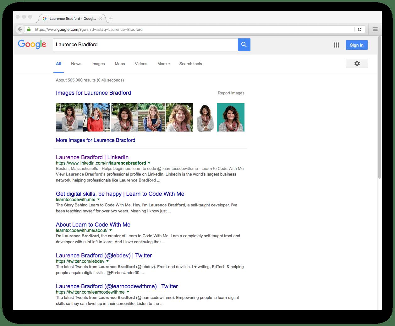 Laurence Bradford Google Search