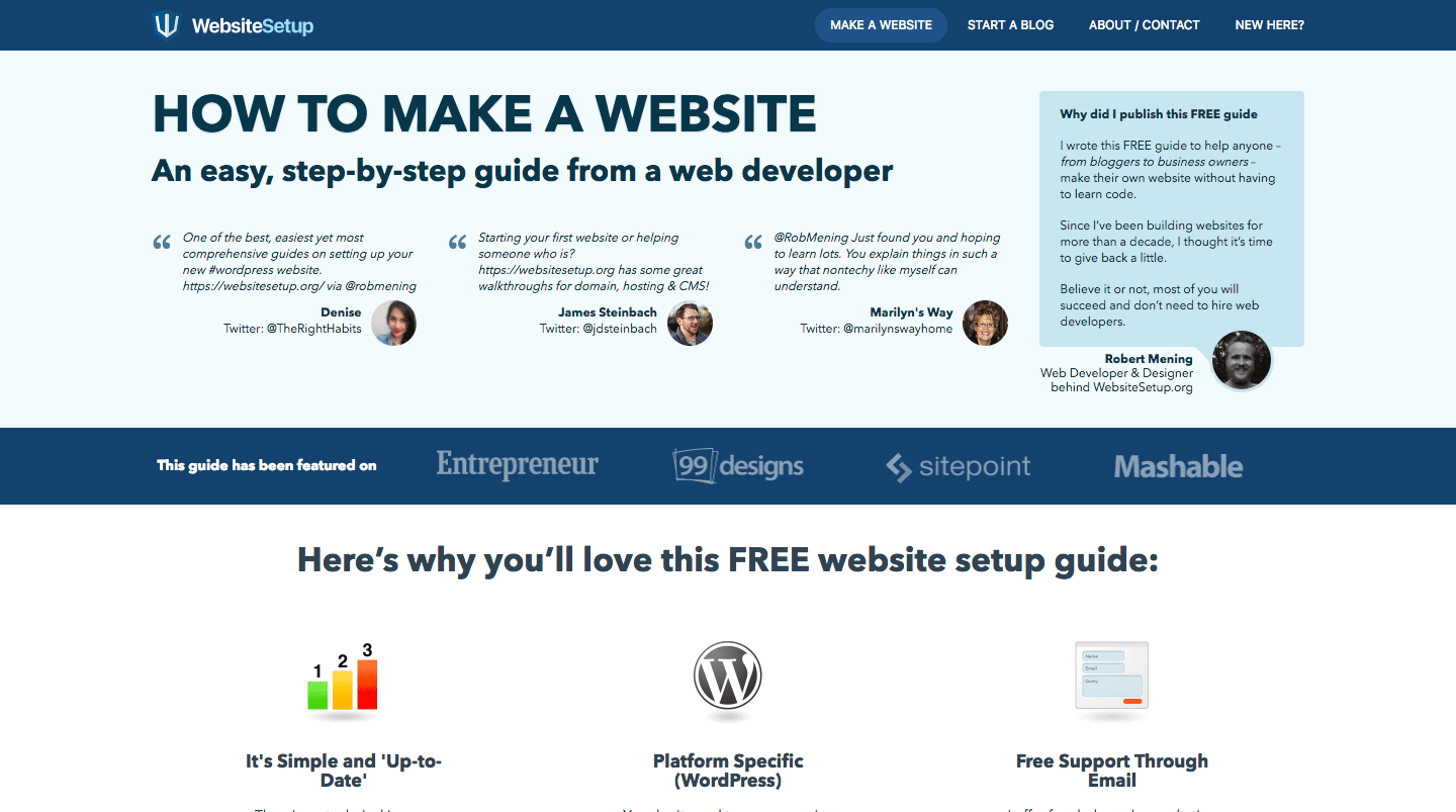 WebsiteSetup.org screenshot
