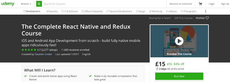 The Complete React Native and Redux Course