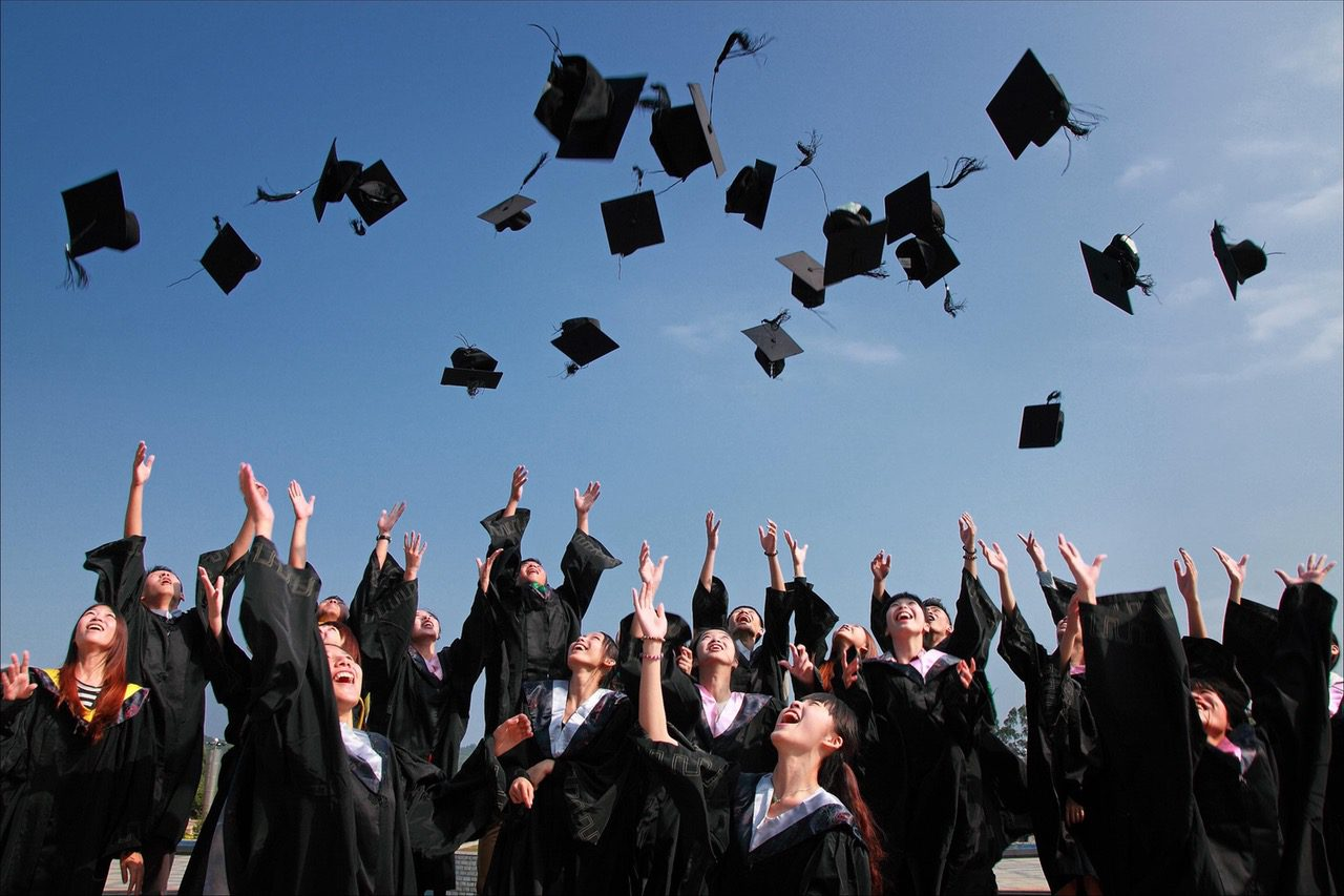 students and mortarboards