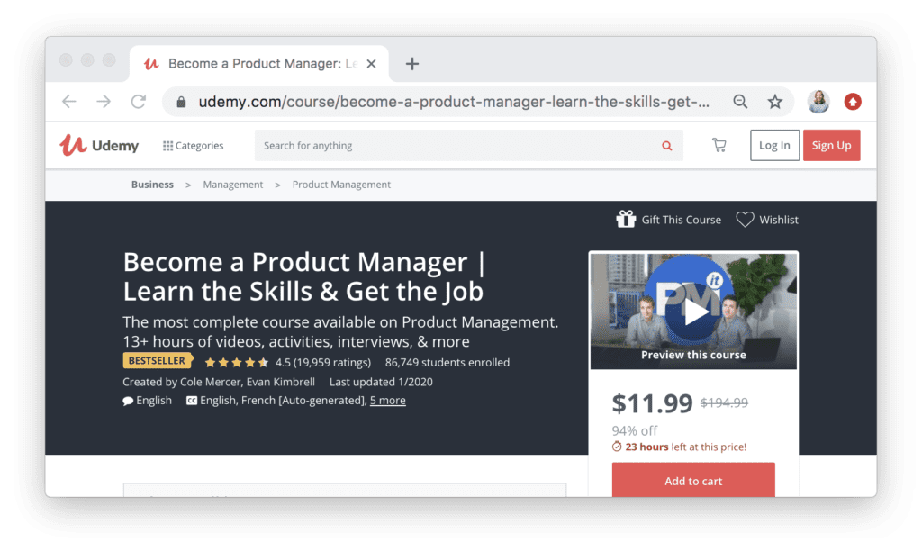 Become a Product Manager | Learn the Skills & Get the Job on Udemy