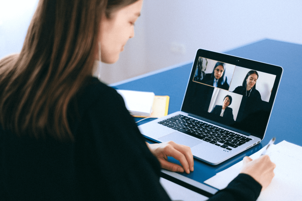 Woman working on remote interviewing skills