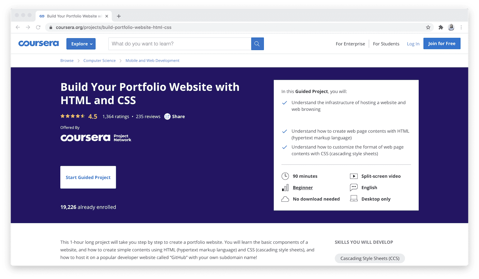 Build Your Portfolio Website with HTML and CSS - Coursera