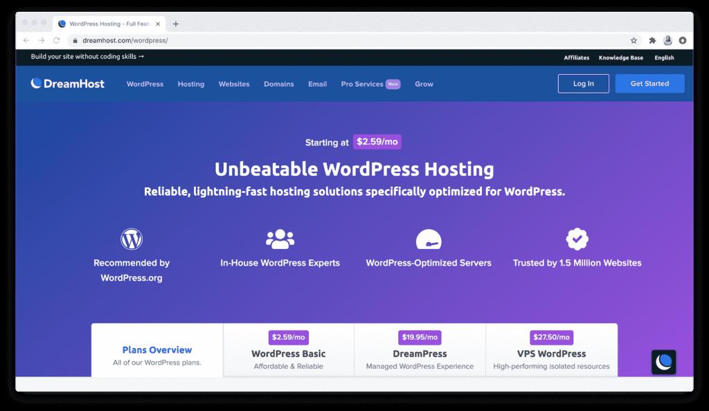 DreamHost DreamPress Hosting Options
