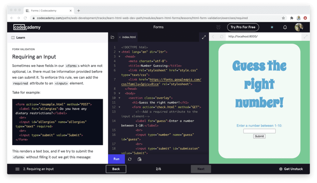 Look inside a Codecademy course