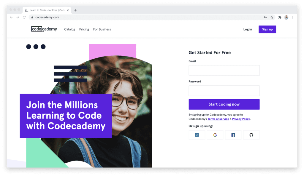 Codecademy homepage