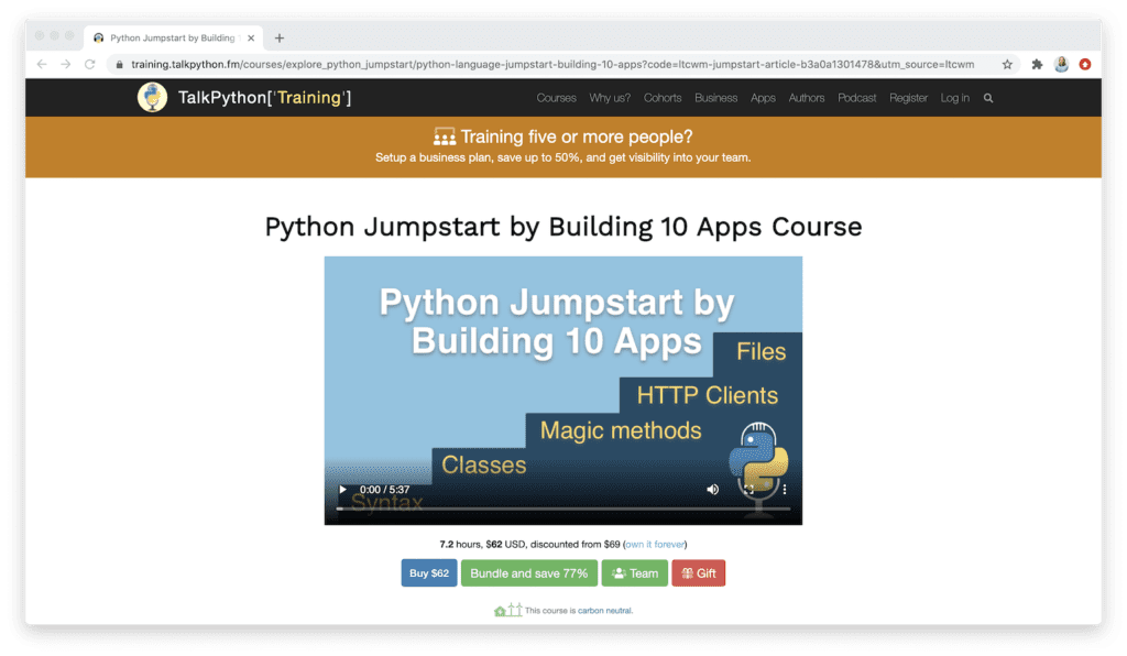 python jumpstart by building 10 apps course