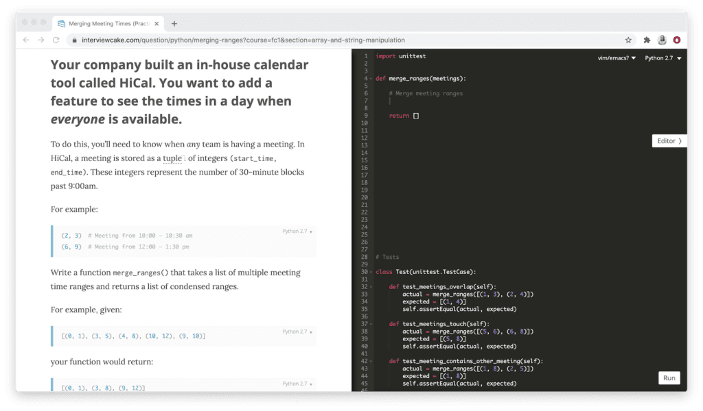 Interview Cake in-browser text editor
