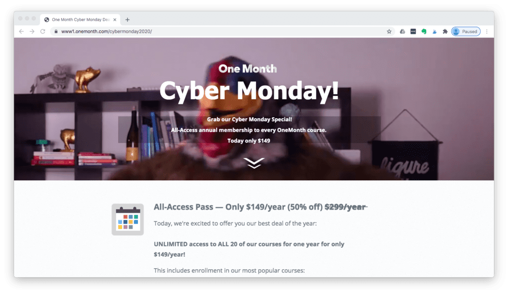 One Month Cyber Monday Deal
