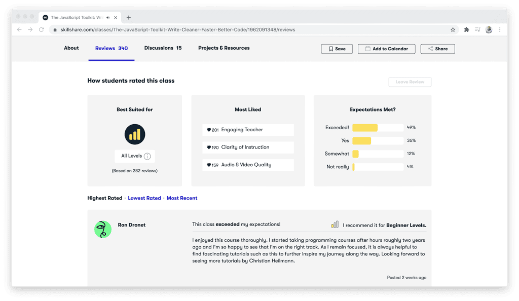 Reviews on the Skillshare platform