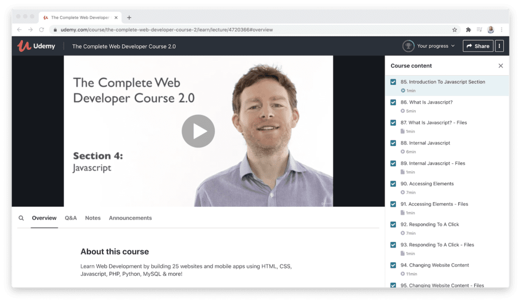 udemy course format