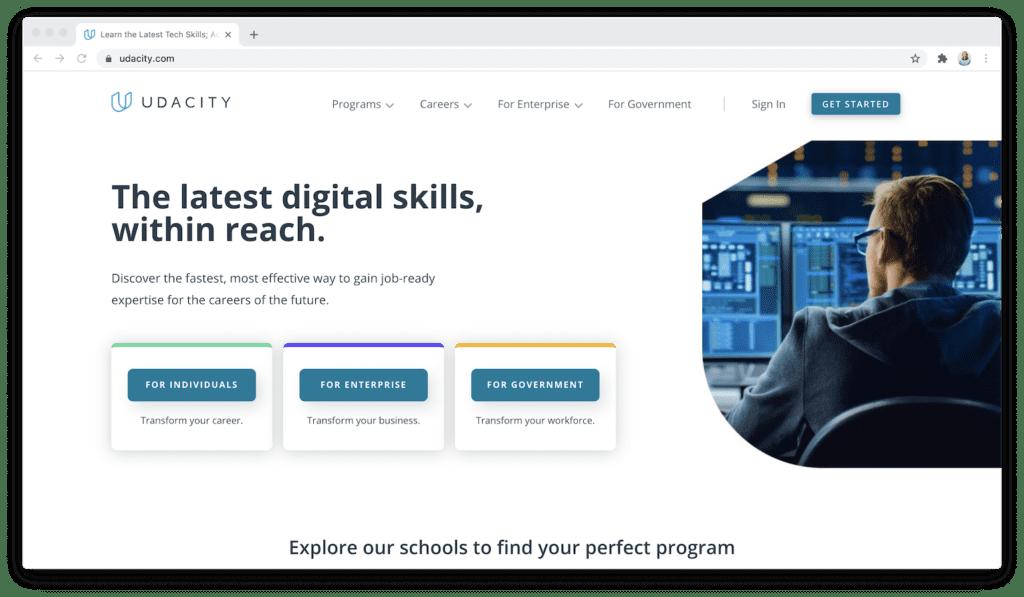 Udacity digital skills homepage