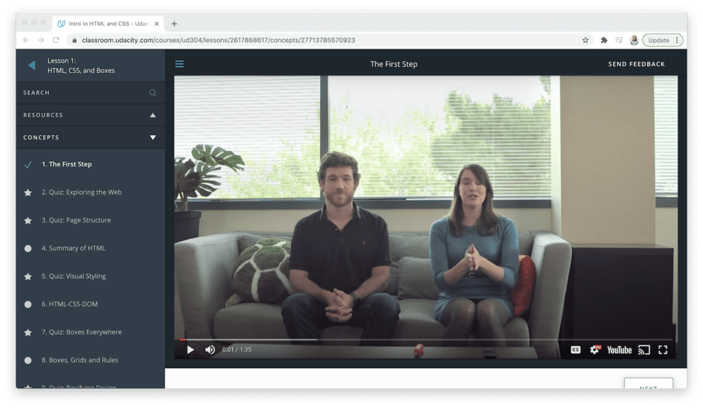 Udacity video course learning interface