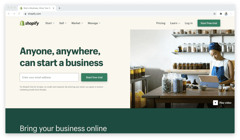 shopify ecommerce homepage