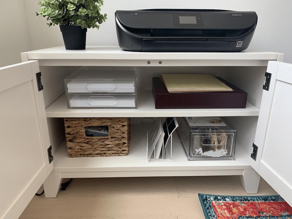 Inside printer cabinet