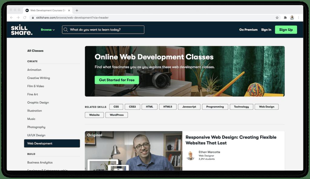 skillshare online web development classes