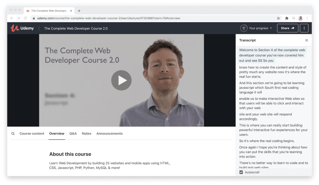 udemy course ease of use demonstration