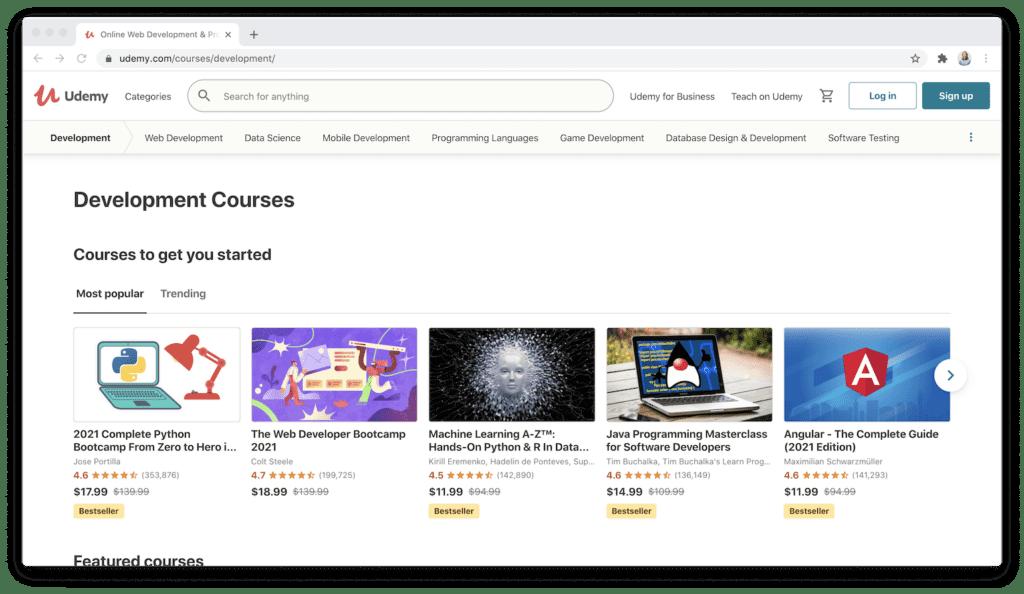 udemy development category courses