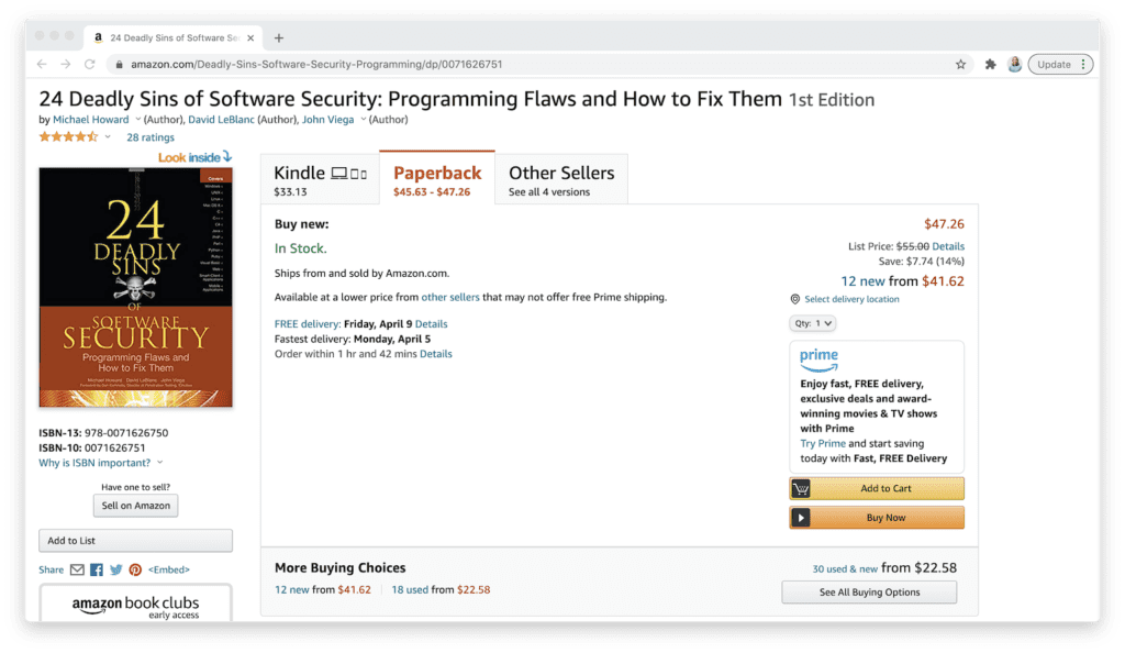 amazon 24 deadly sins of software security book