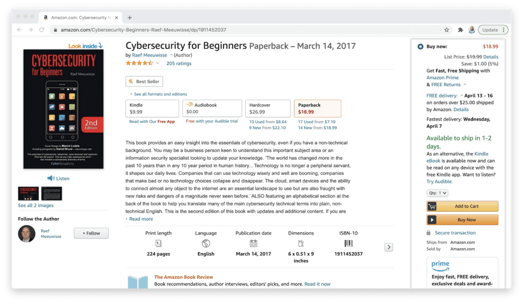 amazon cybersecurity for beginners book