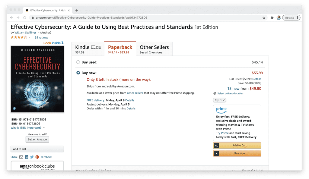 amazon effective cybersecurity guide book