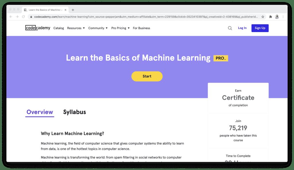 Codecademy machine learning basics course