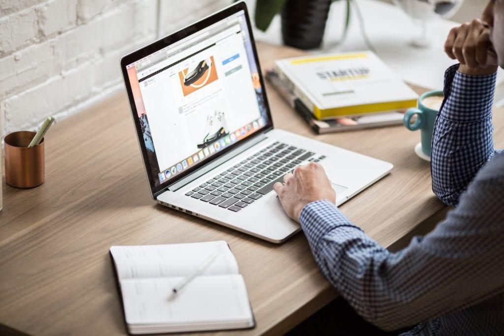javascript website on laptop