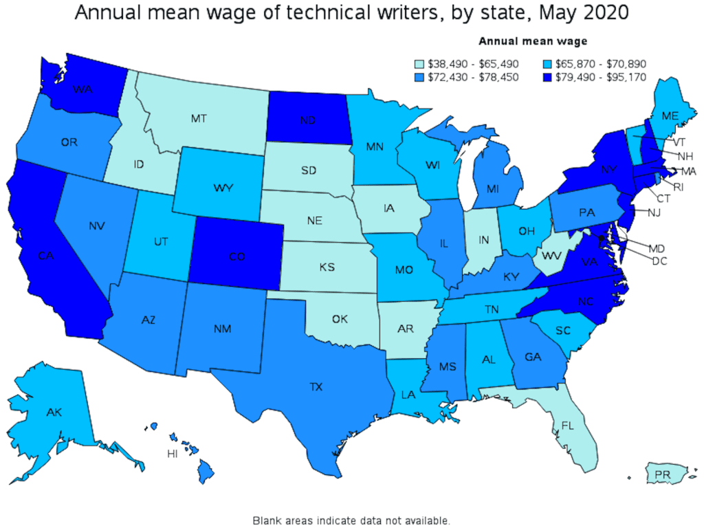 annual average wage of technical writers by state