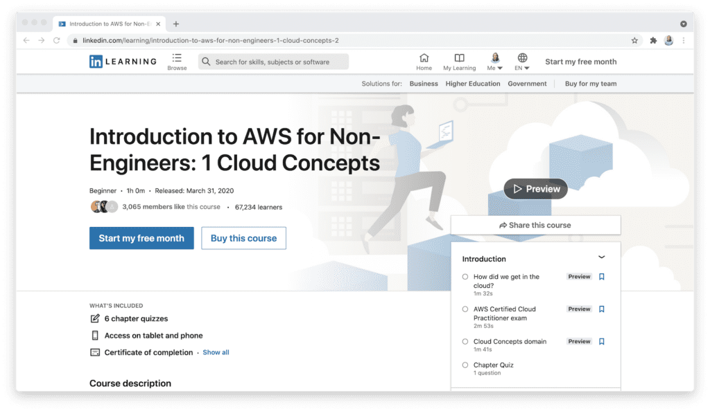 LinkedIn Learning introduction to AWS cloud concepts