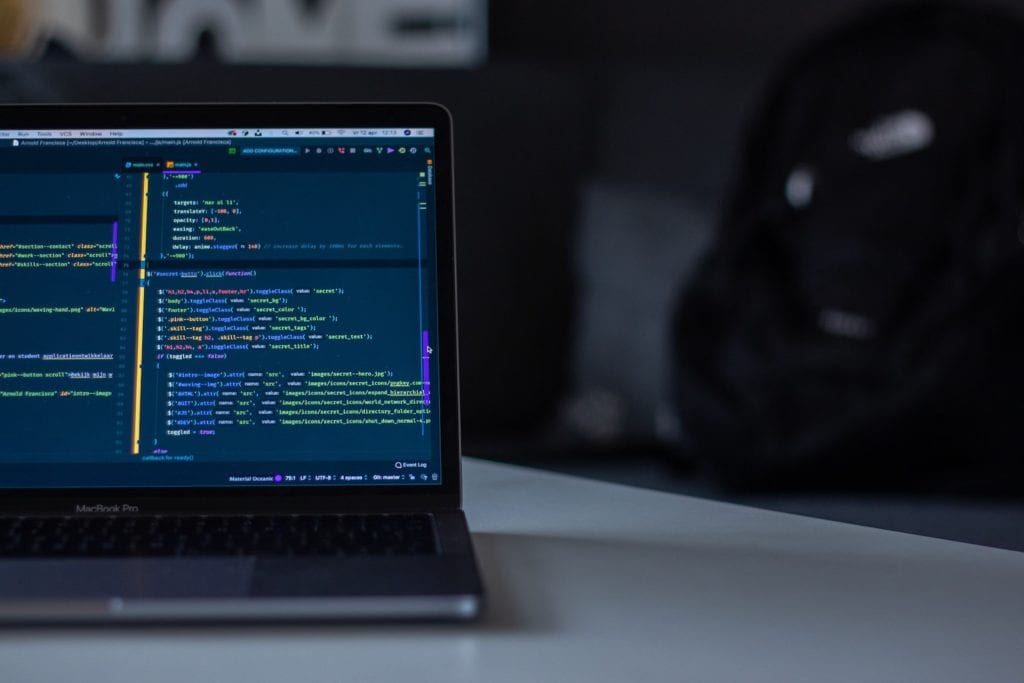 Code on a laptop