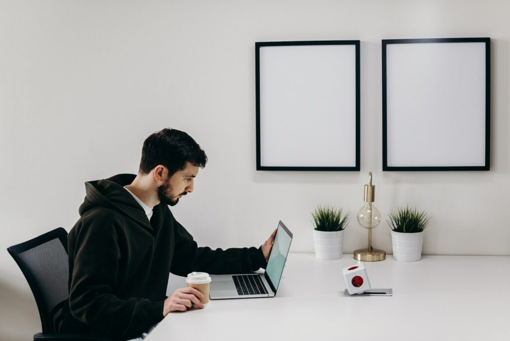 Freelancer working in an office