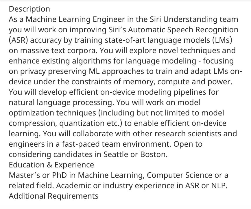 Machine learning engineer job  description at Apple