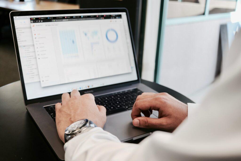 Data scientist using laptop